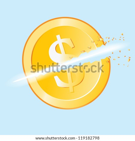 Vector illustration of a gold dollar coin slashed in two.