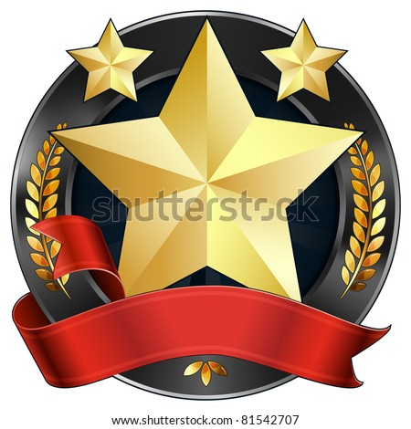 Vector illustration of a gold star award or sports plaque medal with red ribbon. Stars and wreaths surround the reward. Representations include: Achievement, Winning, 1st Place, MVP, Quality Product.