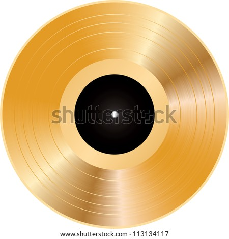 Vector illustration of a golden vinyl.