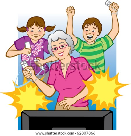 "Vector illustration of a grandmother playing video games with her grandchildren. (Words can be placed in star bursts like ""Pow!"" ""Winner!"", ""Goal!"", etc.)"