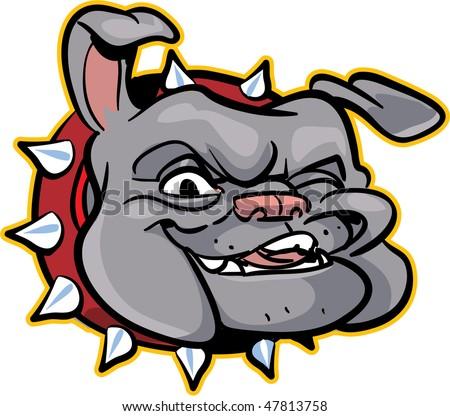 vector illustration of a gray bulldog (head) - part of a series - stock vector