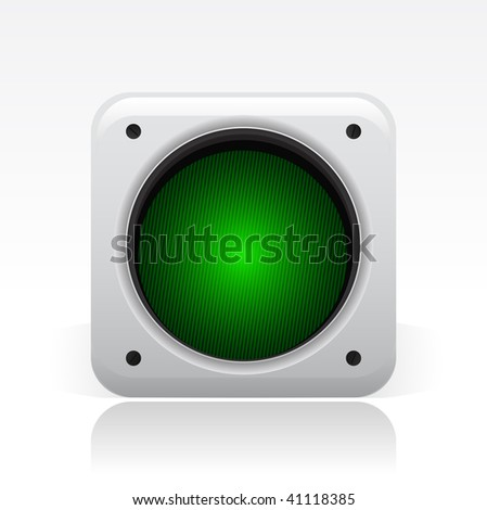 Vector illustration of a gray icon isolated in a modern style with a reflection effect depicting a green traffic light