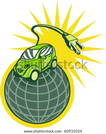 vector illustration of a Green electric car on top of world with plug coming out isolated on white