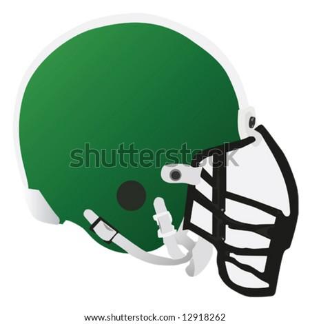 Vector illustration of a green football helmet