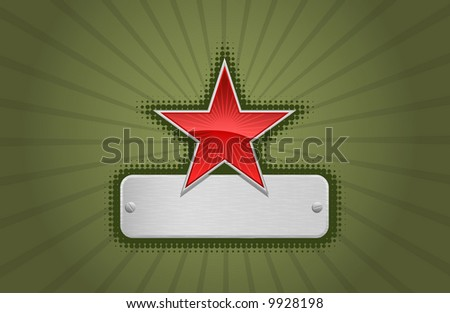 Vector illustration of a green frame with red star and metal copy-space #3
