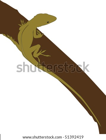 Vector illustration of a green gecko climbing a tree.