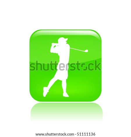 Vector illustration of a green icon in a modern style with a reflection effect depicting a isolated golf player in action