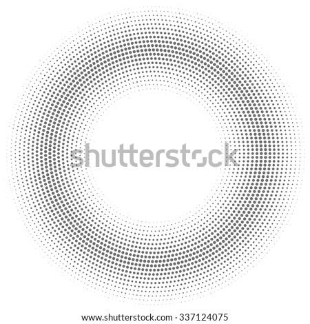 Vector illustration of a grey half tone circular shaded shape