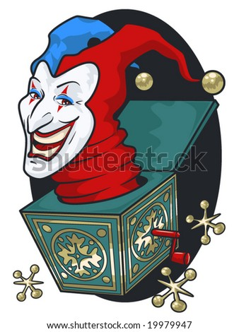 vector illustration of a grinning jack-in-the-box