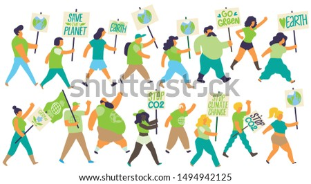 Vector illustration of a group of people marching on a demonstration protesting against climate change and for the protection of the environment. Isolated figures on white background.