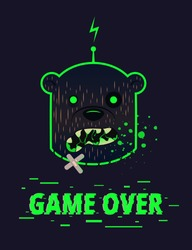 Vector illustration of a growling head of a zombie bear