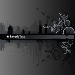 Vector illustration of a grunge and retro dark black background with ink splatter elements, retro circles and drops and stripe for custom text. Urban cityscape backdrop.