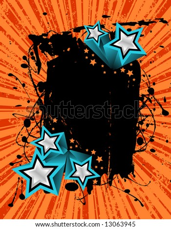 vector illustration of a grunge banner ready for your text with 3D silver stars