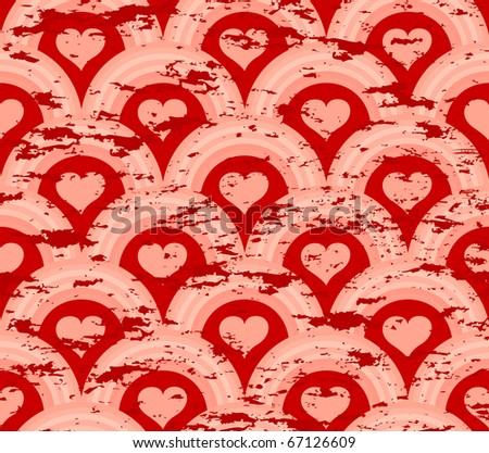 vector illustration of a grunge heart symmetry pattern