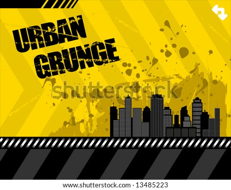 vector illustration of a grunge urban setting. buildings have lots of detail.