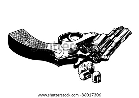 Vector illustration of a gun - stock vector