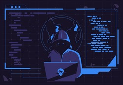 Vector illustration of a hacker man in a dark hood sitting at a laptop, a darknet user, a flat design of the Internet interface of the dark Internet