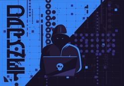Vector illustration of a hacker man in a dark hood sitting at a laptop, darknet user, flat futuristic design internet background image