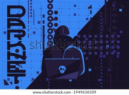 Vector illustration of a hacker man in a dark hood sitting at a laptop, darknet user, flat futuristic design internet background image Foto stock ©