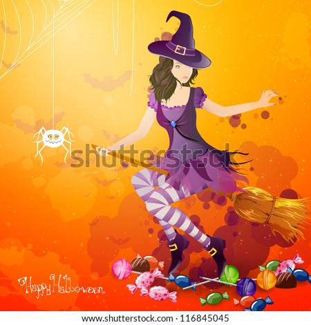 Vector Illustration of a Halloween Background with Witch