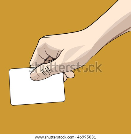 Vector illustration of a hand holding a blank credit card isolated on gold background