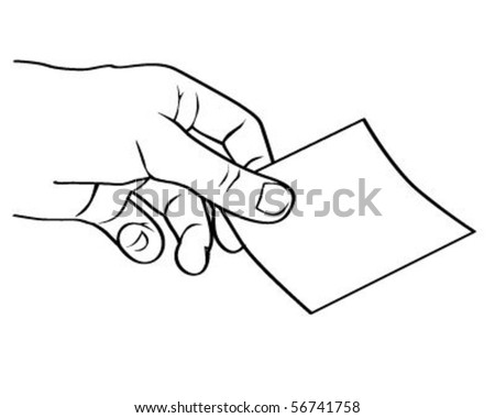 vector illustration of a hand holding a card