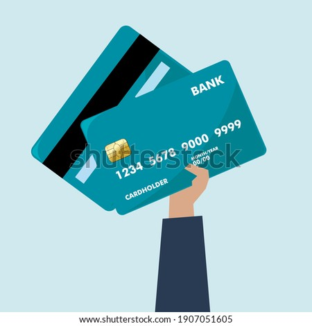 Vector illustration of a hand holding a credit card Foto stock ©