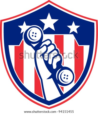 vector Illustration of a hand holding a vintage phone set inside an American stars and stripes shield on isolated white background done in retro style.