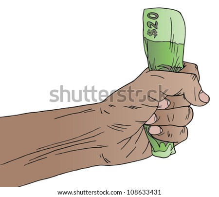 Vector illustration of a hand holding American money - stock vector