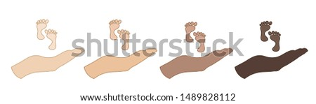 Vector illustration of a hand in a defensive gesture protecting a baby. Symbol of insurance, boy, girl, child,protection, feet.