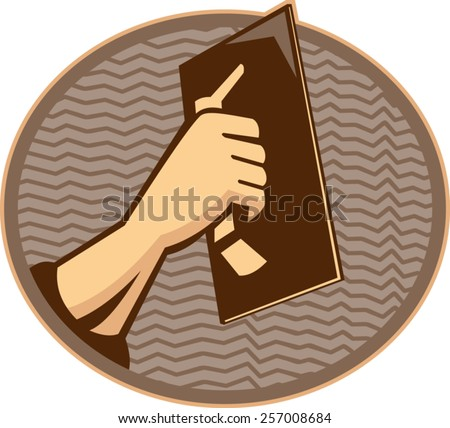 vector illustration of a hand of a plasterer worker tradesman plastering set inside oval done in retro style