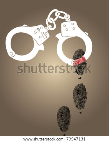 Vector illustration of a handcuffs - stock vector