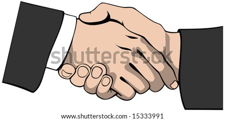 Vector illustration of a handshake in a businesslike manner