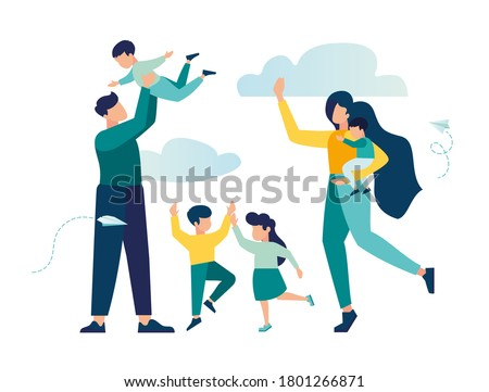 vector illustration of a happy family, mother father daughter son holding hands and hugging, complete prosperous family