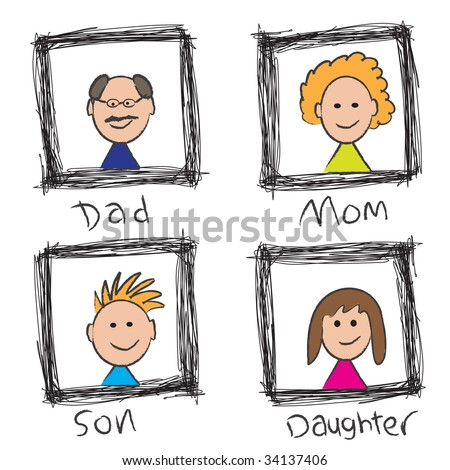 Vector - Illustration of a happy family portrait sketch with mom, dad, son, daughter