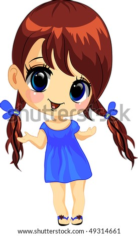 Vector illustration of a happy little girl