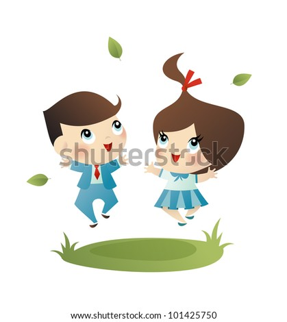 Vector illustration of a happy little school girl and boy