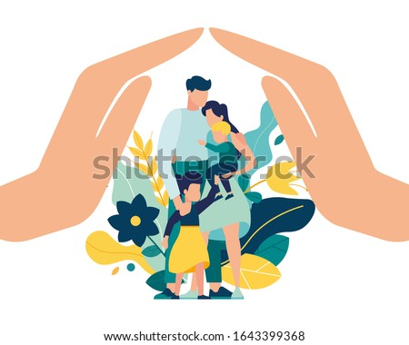 Vector illustration of a happy prosperous family in flowers, mother father daughter son cuddling together near family protection vector