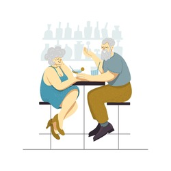 Vector illustration of a happy senior couple drinking cocktails at the bar. Romantic date of an old man and an elderly woman. Modern grandparents having drinks and fun for leisure. Active retirement.