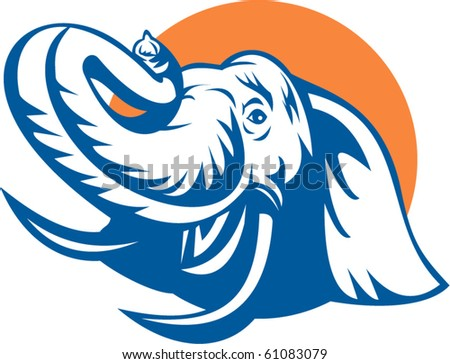 vector illustration  of a Head of an african bull elephant done in retro style.