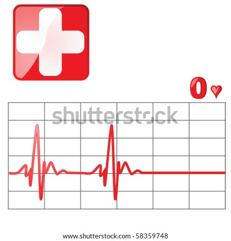 Vector illustration of a heart rate monitor as the heartbeat flatlines