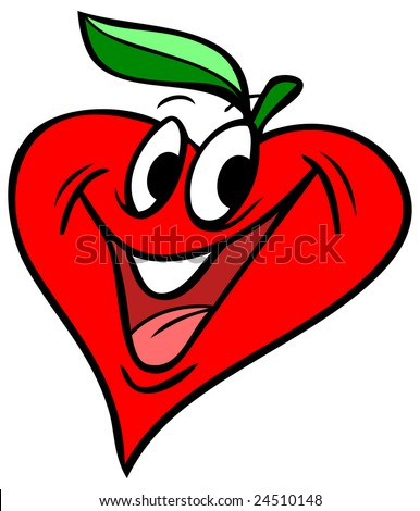Vector illustration of a heart shaped apple.