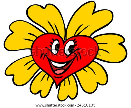 Vector illustration of a heart shaped flower. - stock vector