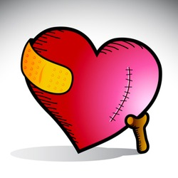 Vector illustration of a heart with scar and yellow bandage supported by a cane