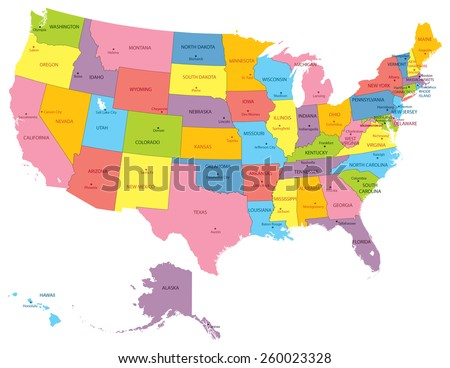 Vector illustration of a High Detail USA Map with different colors for each country. Each country has its capital city. Global colors used.