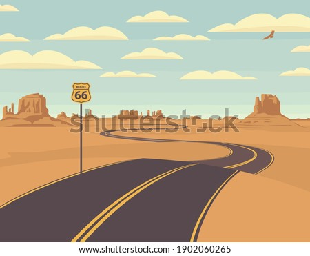 Vector illustration of a highway in the desert and mountains. Summer landscape with empty road. Historic US Route 66, roadway with a pointer, the horizon with a sandy wasteland. Nature background Photo stock ©