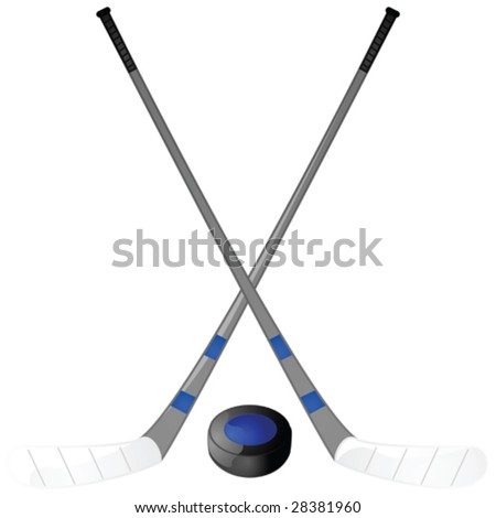 Vector illustration of a hockey puck with two hockey sticks crossed above it
