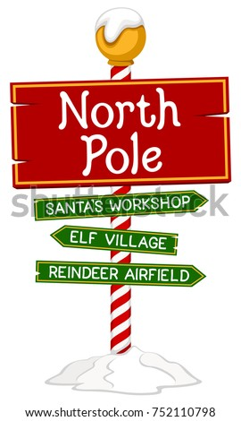 Vector illustration of a holiday sign for the North Pole.