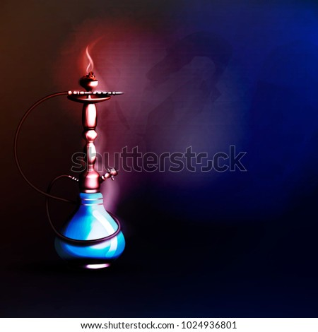 Vector illustration of a hookah concept, party, restaurant. A shiny hookah for smoking.