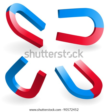 Vector illustration of a horseshoe magnets